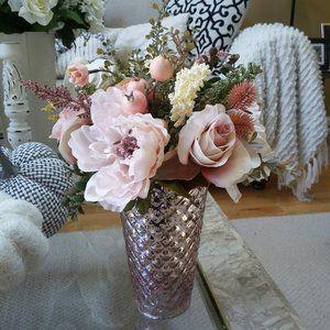 VINTAGE Pink GLASS Floral ROSES Decor